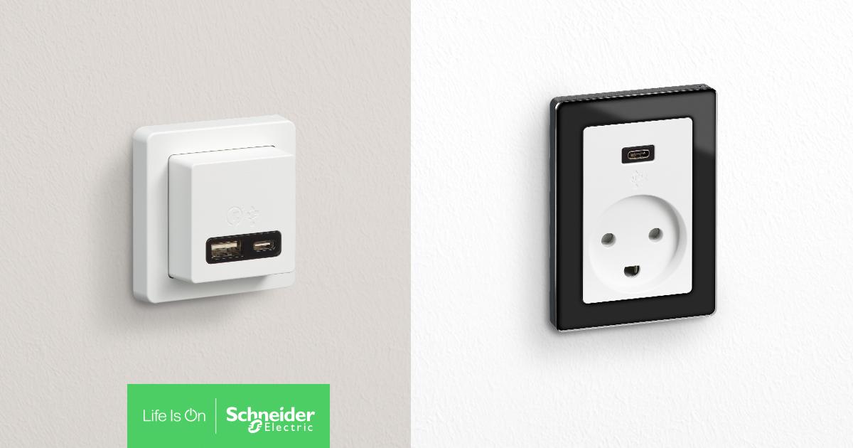 To stærke nyheder til LK FUGA®: Hurtiglader til USB-C og USB-A samt Stikkontakt med USB-C