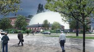 Rammerne for det nye museum planmæssigt skal stå klar i 2021. Visualisering: Bygningsstyrelsen og Lundgaard & Tranberg Arkitekter.